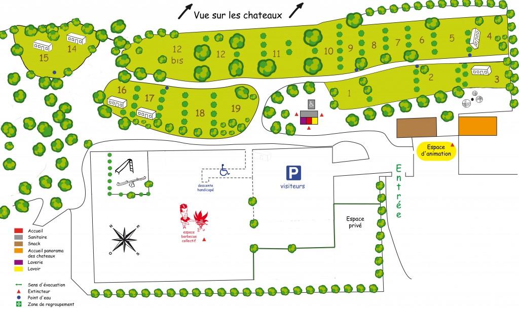 Plan Camping Le Belvedere Lastours